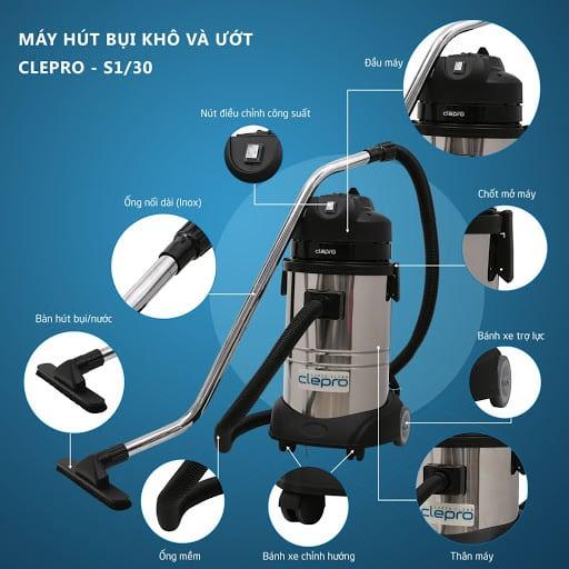 Máy Hút Bụi Clepro S1/30 Siêu Bền Giá Rẻ | Máy Hút Bụi Chính Hãng