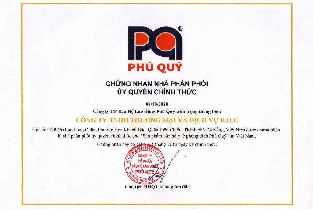 nhà phân phối ủy quyền bảo hộ y tế Phú Quý, Chứng nhận nhà phân phối ủy quyền bảo hộ y tế Phú Quý, ROC